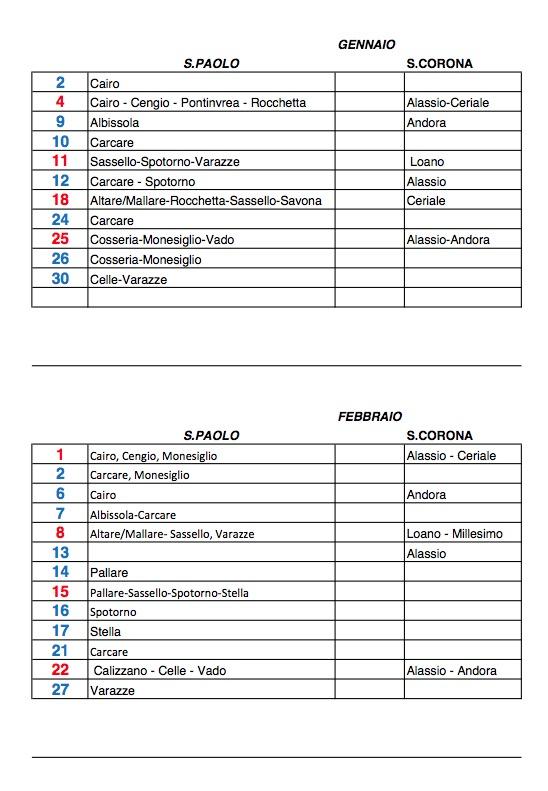 Calendario Anno 2015.Calendario Donazioni Avis Anno 2015
