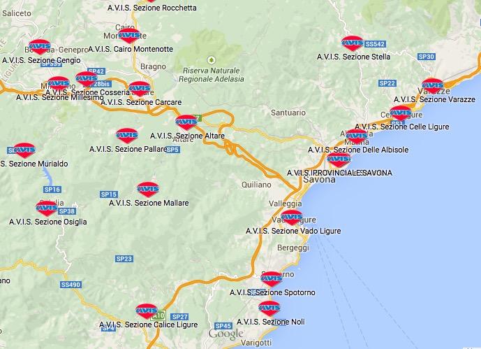 Mappa delle SEDI AVIS COMUNALI